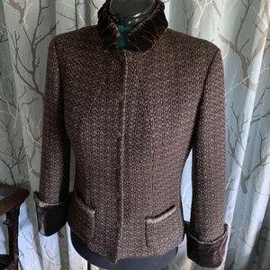Elie Tahari Reversible Wool / Silk Brown Jacket M